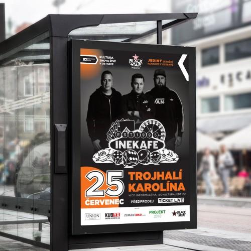 Grafický návrh propagačních tiskovin pro ostravský koncert INE KAFE