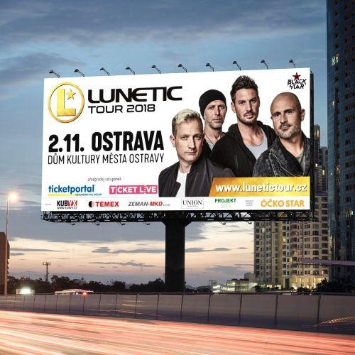 Grafický design vizuální identity česko-slovenského turné legendárního boybandu LUNETIC