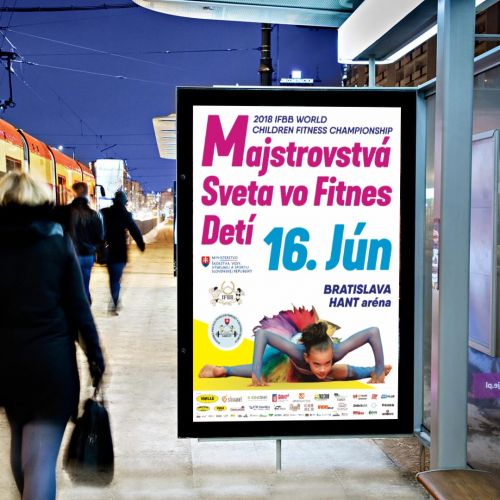 Grafický design vizuální identity Majstrovstvá sveta vo fitnes detí 2018 konané v Bratislavě