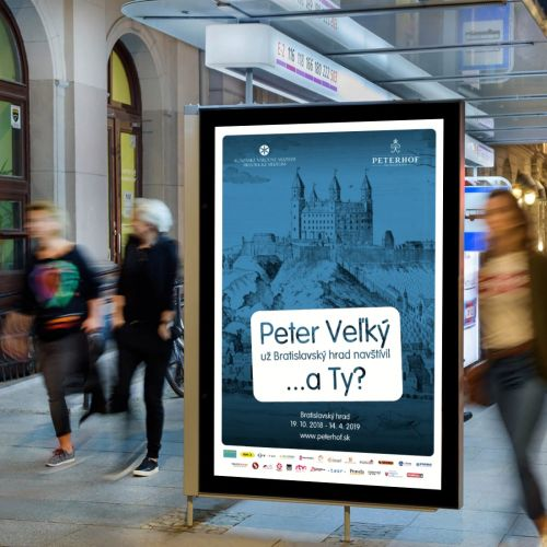 Grafické zpracování propagačních vizuálů pro historickou výstavu Peterhof konanou na Bratislavském hradě