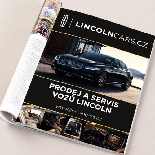 Grafické zpracování stránkové inzerce Lincoln pro časopis Playboy