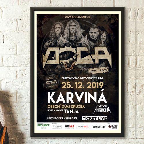 Tisk plakátů pro karvinský koncert kapely DOGA