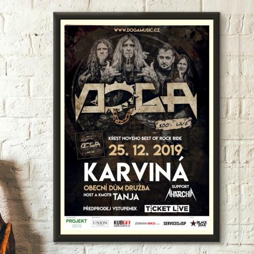 <strong>DOGA</strong></p><p>Tisk plakátů na koncert kapely DOGA v Obecním domě Družba Karviná