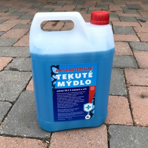 Prodejní etiketa pro antibakteriální tekuté mýdlo v kanystru