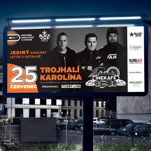 Tisk propagačních billboardů, plakátů a letáků pro jediný ostravský koncert kapely INE KAFE